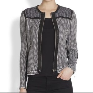 Rebecca Taylor tweed blazer w/ leather trim - 12